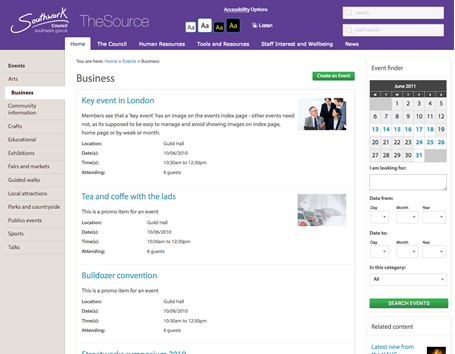 the Source events page