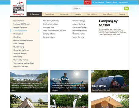 The Camping & Caravanning Club section page with navigation