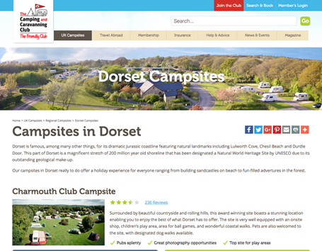 The Camping & Caravanning Club regional campsites