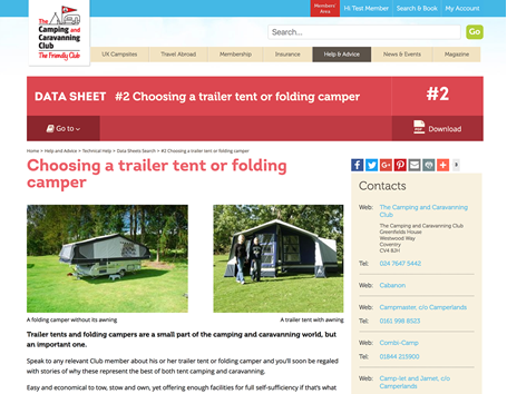 The Camping & Caravanning Club datasheets