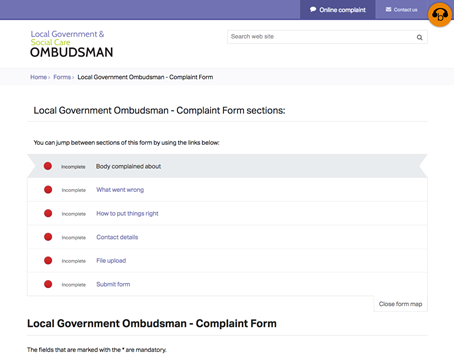Complaint form with form mapping - Local Government and Social Care Ombudsman