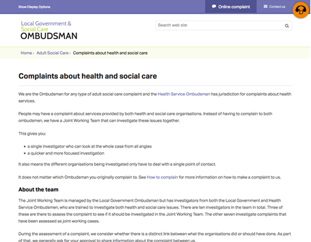Compaints page - Local Government and Social Care Ombudsman