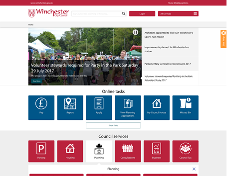Winchester City Council home page