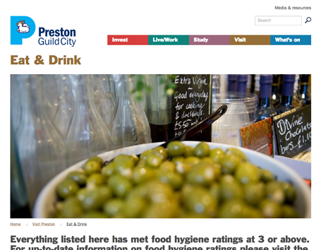 Preston Guild City eat and drink section