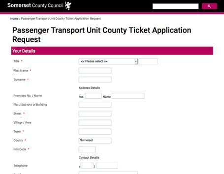 Somerset County Council - eform for ticket applications