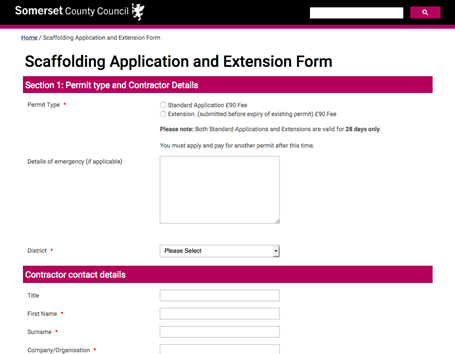 Somerset County Council - Scaffolding application request