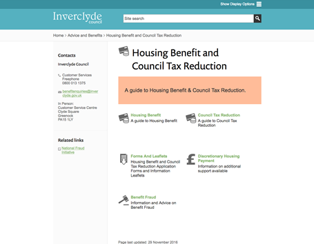 Inverclyde Council - Housing benefits