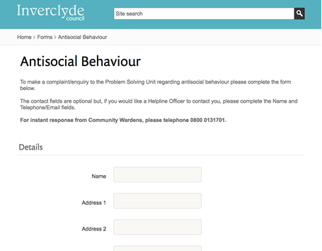 Inverclyde Council - Eform - Anti Social behaviour