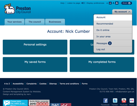 Preston's portal dashboard profile page where users can make changes to thier profile and quickly update the concil with a change of circumstance.