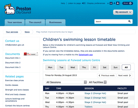 Preston ciitzens can check leisure centre timetables online without having to make a telephone call!