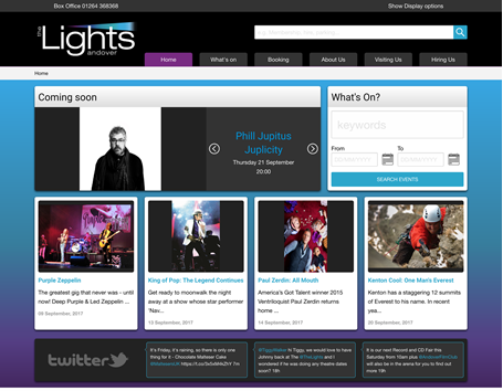 The Lights theatre in Andover. Home page with latest events, carousel of prime events and facebook API integration.