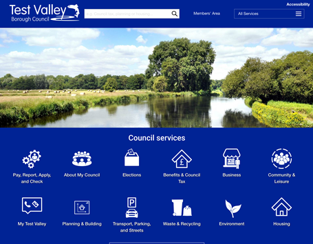Task orientated home page webiste design for Test Valley District Council