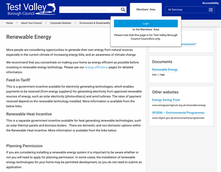 CMS publishing for Test Valley District Council