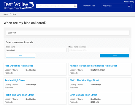 Test Valley District Council waste collection search
