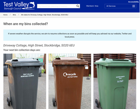 Bin collection result for Test Valley District Council