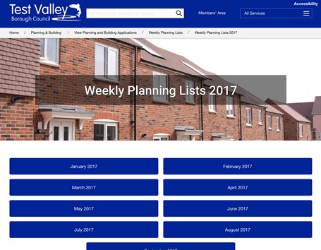 Test Valley District Council planning publishing
