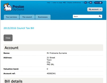 Council tax billing at Preston Council