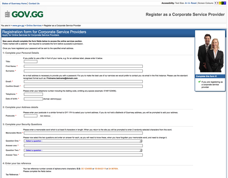States of Guernsey corporate service providers register online