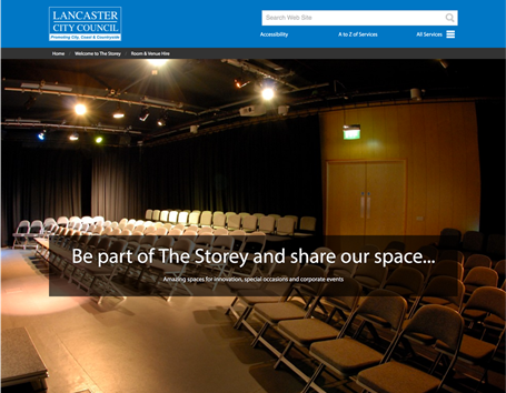 Lancaster microsite theme for The Storey - a creative hub, performing arts venue and contemporary eatery.