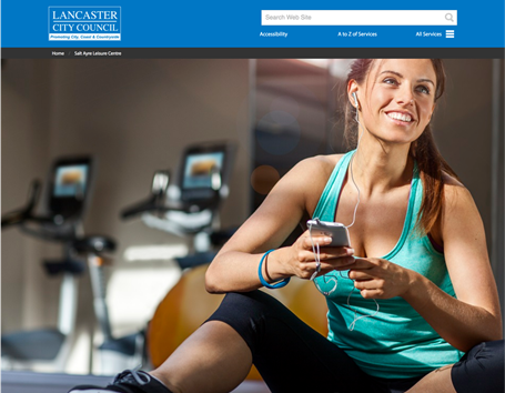 Lancaster Salt Ayre Leisure centre built with web labs CMS microsite theming system
