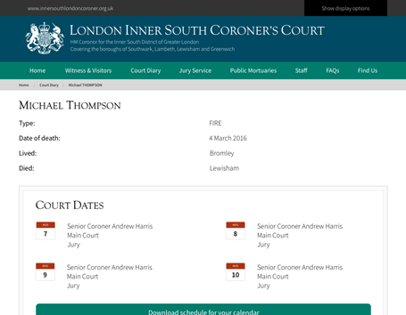The court inquests and hearings are summarised in a clear and easy to use format. For users that want to sync their calendar a download is available that is compatible with all major calendar software.