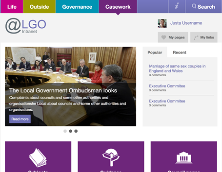 LGO intranet home page