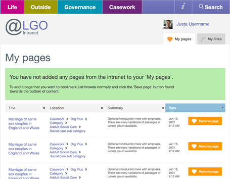 LGO intranet bookmarked pages