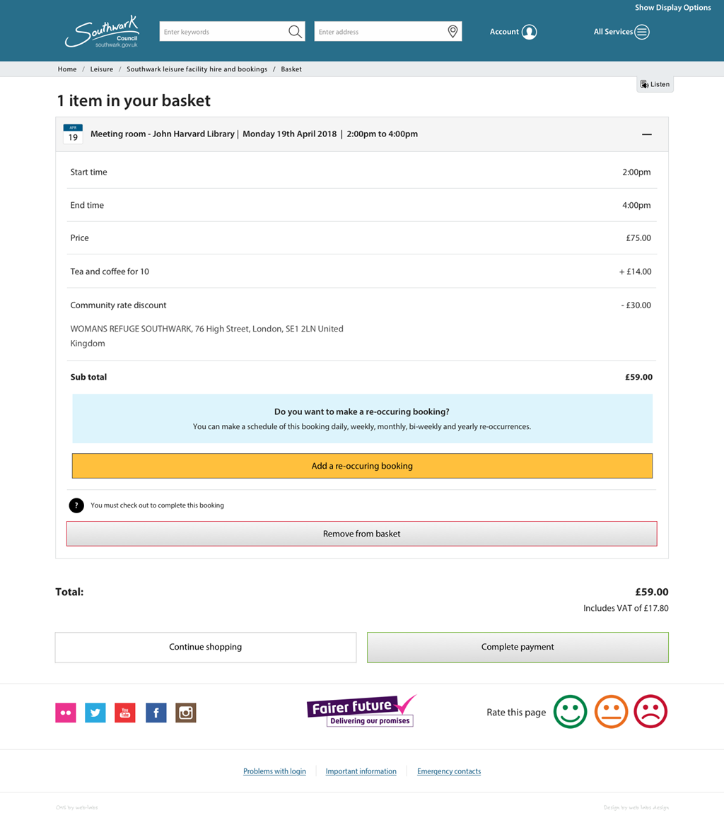 Does your shopping basket let you apply re-occurring bookings? Time management is where the Web labs Leisure Bookings reaches beyond other applications out there. Let your users configure a pattern of bookings that other systems simple can't provide!